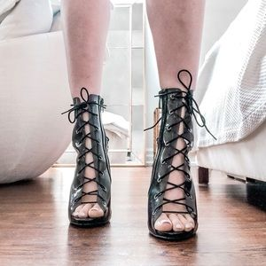 Missguided Shoes - Black Lace Up Peep Toe Super Sexy Stilettos